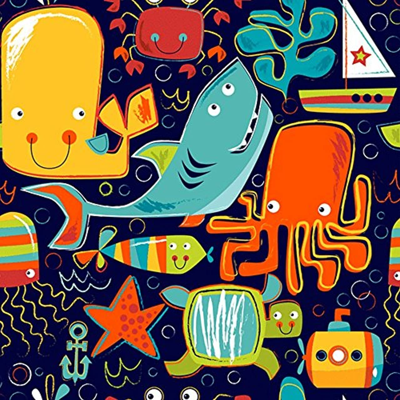 Sea Life Animals Kid Gift Wrapping Paper - 15 Foot Roll
