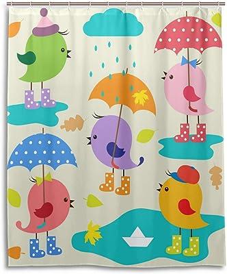 ANNSIN シャワーカーテン 風呂カーテン バスカーテン 浴室 バスルーム カーテン 防水 防カビ加工 間仕切り 厚手 目隠し 速乾 創意 面白い リング付属 取り付け簡単 120×180cm 鳥 雨 傘 可愛い