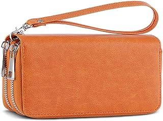 محفظة للهاتف المحمول ذات السحاب المزدوج مع حزام معصم قابل للإزالة للبطاقة والنقدية والعملات المعدنية والبيل