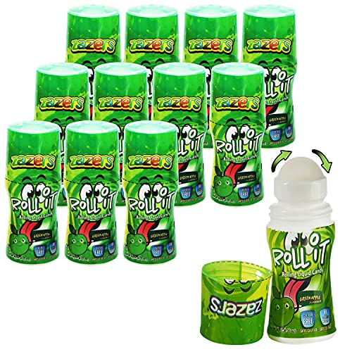 Sour Rolling Liquid Candy Green Apple Flavor - 12 Pack of Roll-It Bottles Zazers Licker Candy - Gluten-Free and No Coloring Added (Kosher, NET WT 16.2 OZ, 480mL)