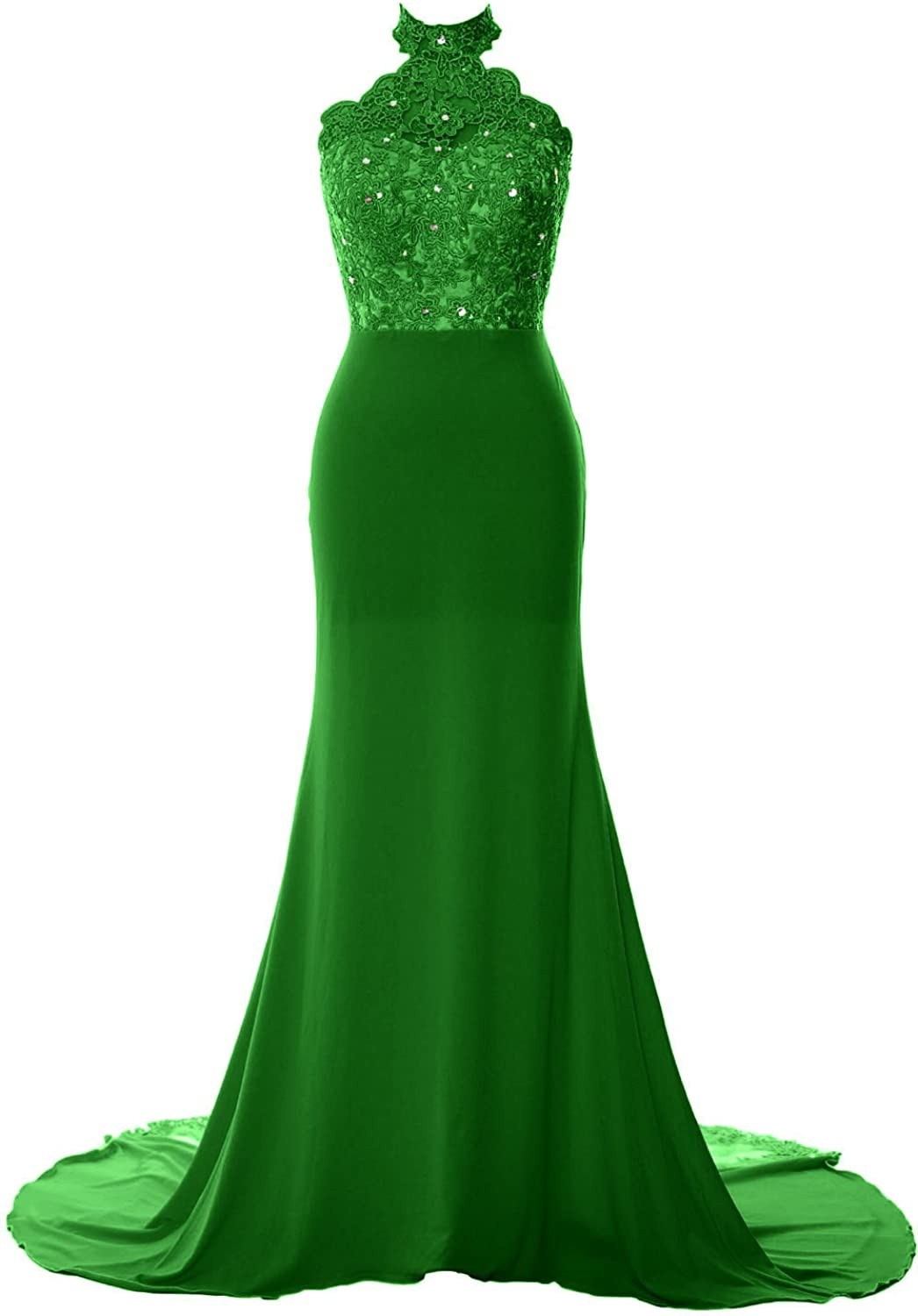 MACloth Women Mermaid Halter Lace Jersey Long Prom Dress Formal Evening Gown