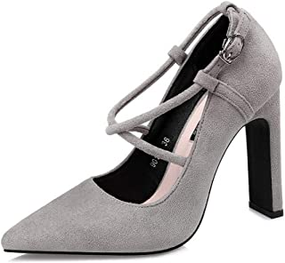 Ying-xinguang Shoes Fashion Cross Straps Sexy Single Shoes Thick with Simple Women's Shoes Women's High-Heeled Comfortable