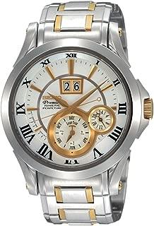 Seiko SNP022P1 Men's Two Tone Stainless Steel Kinetic Premier Perpetual Calendar White Dial Watch