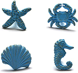 ZILucky Sea Horse Starfish Seashell and Crab Drawer Pulls Handles for Dresser Cupboard Wardrobe Cabinet Kitchen Beach Ocean Theme Knobs Pack of 4 (Blue) (Blue)