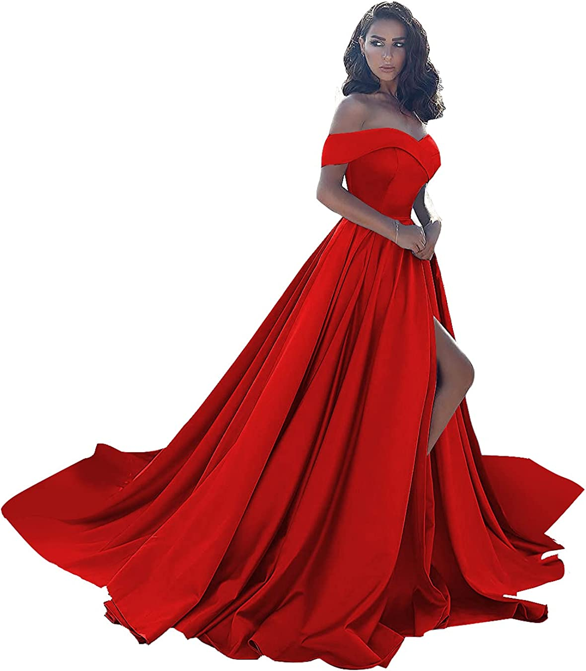 Ball Gown Prom Dresses Long Satin Off Shoulder Split Formal Evening Wedding Dress for Women