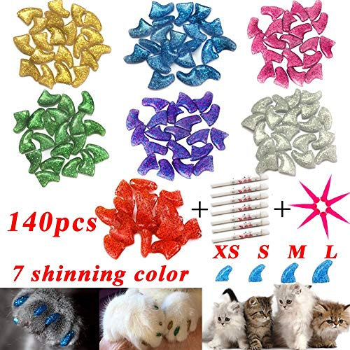 YMCCOOL 100pcs Cat Nail Caps/Tips Pet Cat Kitty Soft Claws Covers Control Paws of 10 Nails Caps and...