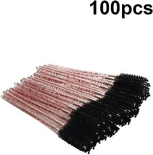 Solustre Disposable Mascara Eyelash Brushes 100pcs Makeup Applicators Kits for Eyelash Extensions and Mascara Use (Black)