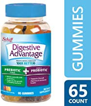 Digestive Advantage Daily Prebiotic Fiber & Probiotic Gummies- Simulates Growth of Healthy Bacteria & Promotes Digestive & Immune Health, Natural Fruit Flavors, 65 Count