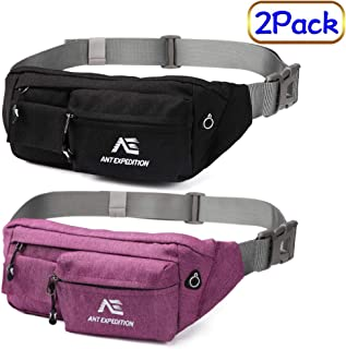 ANT EXPEDITION Fanny Pack Waist Bag Polyester Black Hip Bum Bags for Men Women Outdoors Workout Traveling Casual Running Hiking Cycling