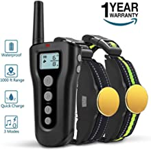 BOOCOSA Dog Training Collar for 2 Dogs-Remote Rechargeable Shock Collar for Dogs, Waterproof Electric Shock Collar with Beep Vibration Shock for Small Medium Large Dogs (for 2 Dogs)