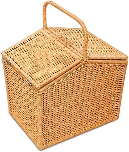 Panier de pique-nique avec panier à couvercle double en rougein, double couche, 40x30x35.5cm