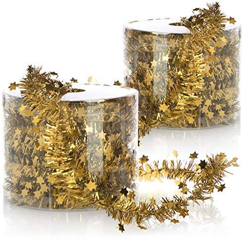 com-four® 2X Drahtgirlande mit Sternen - Girlande für Weihnachten - Weihnachtsgirlande für Christbaumschmuck - Deko für Adventskranz - je 7 m (goldfarben - 2 Stück)