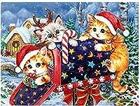 数字によるDiyオイルペインティングキットメールボックス数字による猫のペイントDiyアクリル絵画キット子供用印刷済みキャンバスアート家の装飾-16x20インチ(フレームなし)