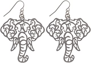Silver Tone Elephant Head Filigree Fish Hook Earrings