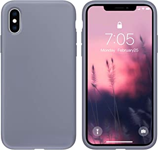 Case for iPhone X/iPhone Xs Liquid Silicone Gel Rubber Phone Case,iPhone X/iPhone Xs 5.8 Inch Full Body Slim Soft Microfiber Lining Protective Case(Lavender Gray)