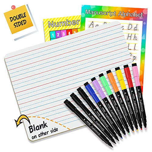 Dry Erase Board, Small Dry Erase White Board 9'X12' with 10 Pcs Dry Erase Markers & 2 Pcs Educational Posters, Double Sided Dry Erase Lap Board with Lines/White Board, Mini Whiteboards for Kids