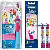 SPAR-SET: 1 Braun Oral-B Stages Power AdvancePower Kids 900TX elektrische Akku-Zahnbuerste Kinder 3 J. (D12.513.K) Disney Prinzessin Cinderella und 2er Stages Aufsteckbuersten Princess