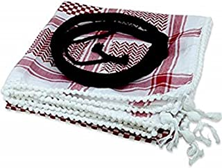 Authentic Middle Eastern Arab Kafiya Keffiyeh w Aqel Rope by