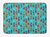 tgyew Surfboard Bath Mat, Aloha Hawaii Live Free Ocean Water Sports Inspired Pattern Coastal Inspirations, Plush Bathroom Decor Mat with Non Slip Backing, 23.6...