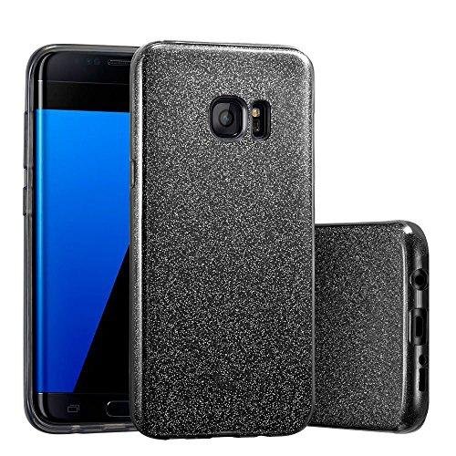 Coovertify Funda Purpurina Brillante Negra Samsung S7 Edge, Carcasa Resistente de Gel Silicona con Brillo Negro para Samsung Galaxy S7 Edge (5,5')