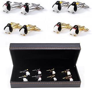 MRCUFF Penguins 4 Pairs Formal Cufflinks in a Presentation Gift Box & Polishing Cloth