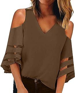 Women's Cold Shoulder 3/4 Horn Sleeve Mesh V-Neck T-Shirt Loose Bud Wire Cloth Patchwork Chiffon Shirt