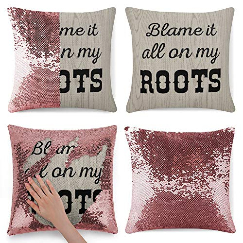 Tamengi Sequin Pillow Cover, Blame It All on My Roots, Zipper Pillowslip Pillowcase, Decorations for Sofas, Armchairs, Beds, Floors, Cars