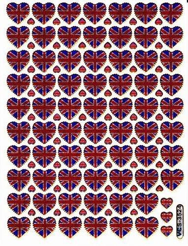 Coeur Amour Love Multicolore autocollants 124 pièces 1 feuilles 135 mm x 100 mm Stickers bricolage enfants PARTY métallique