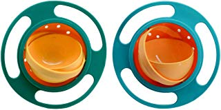 Song Qing Magic Gyro Bowl Baby Kids Gyroscopic 360 Degree Rotate Spill-Proof Bowl (2pcs (Blue + Green))
