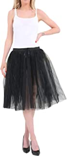 Rimi Hanger Womens 3 Layers Black Tutu Skirt 25 inches Ladies Halloween Party Wear Skirt One Size
