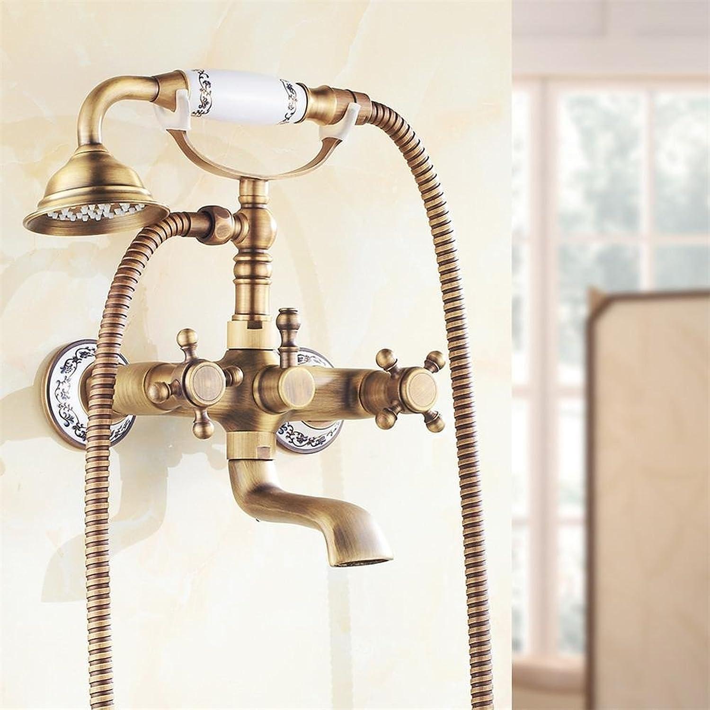 Taps faucet Antike Gebürstetem Messing Bad Wasserhahn Bad Wasserhahn Mischer TaP Wand Montiert Hand Duschkopf Dusche Wasserhahn Sets , 1