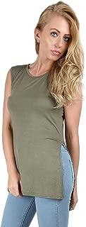 Womens High Split Midi Jersey Long Tee Side Slit Tunic Vest Top