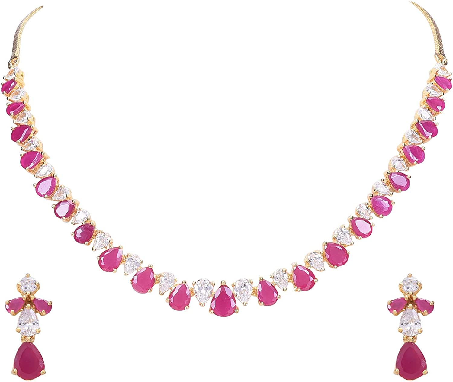 Ratnavali Jewels Women's Gold Tone Cubic Zirconia Single Line Necklace Earrings Set for Brides and Weddings RV3417