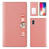 ZenFone 4 Max ZC520KL ケース 手帳型 ゼンフォン スマホケース ピンク 可愛い パールリボン ピンク