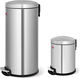 Innovaze Step Trash Can, Retro Round Classic Stylish Bin with Plastic Inner Bucket for Bathroom Kitchen and Office - 5 Liter + 30 Liter Combo (Classic)