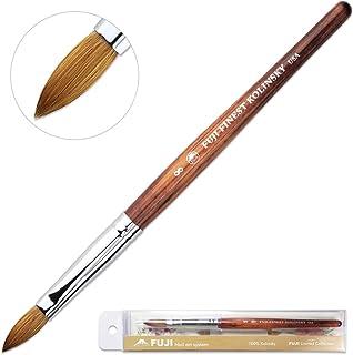 Fuji Brand 100% Pure Kolinsky Hair Bristles Acrylic Nail Brush Oval Crimped Shaped Mahogany Wood Handle Professional Salon Quality (Size 8)