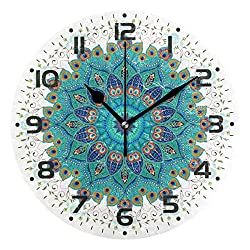 Naanle Oriental Round Mandala Floral Paisley Peacock Feather Round/Square/Diamond Acrylic Wall Clock Oil Painting Home Office School Decorative Creative Dual Use Clock Art