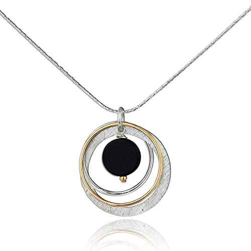 b8976f1c0 Multi Circles Turquoise or Black Onyx Necklace Sterling Silver & 14k Gold-Filled  Pendant,