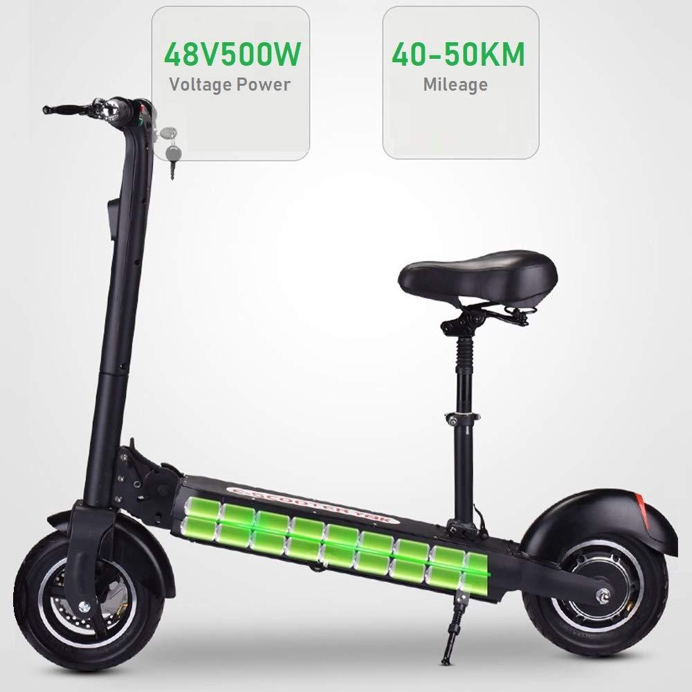 PUKEFNU Scooter Eléctrico para Niños 48V500W Scooter Eléctrico para Adultos 10AH 2 Frenos De Disco Bicicleta Eléctrica Plegable La Vida 50 Km Cambio Continuo De Marchas: Amazon.es: Deportes y aire libre