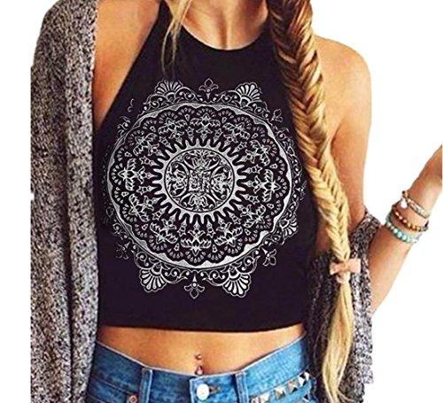 Culater® Mujeres Mandala de impresión sin Mangas del Cuello del Halter del Tanque de Cultivos Tops del Chaleco de la Blusa de la Camiseta