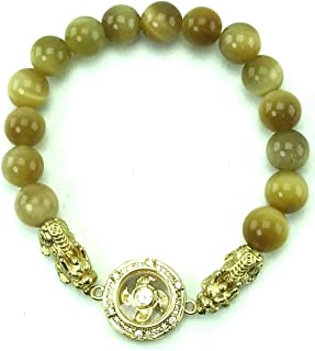 Gemstone Bangle Bracelet Amulet Gem Stone Talismans PiXian with Lucky Design 4 Turbines Gold, Golden Tiger Eye Stone or Qu...