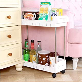 AIYoo 2 Tier Large Storage Baskets Gap Storage Slim Slide Out Tower Rack Mobile Shelving Unit Organizer,Pantry Storage Shelf - Utility Trolley Organization Serving Cart on Casters for Kitchen Bathroom