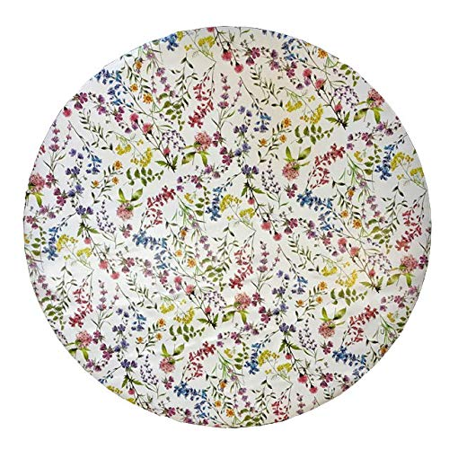 linen702 Vinyl Pvc Tablecloth 54 inch Round (137cm) Floral Stems on White Ground To fit up to a 4 Seater Size table, Wipe Clean, Textile Backed Plastic Circular Table Cloth (316)