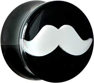 Body Candy Black Acrylic White Mustache Saddle Ear Gauge Plug (1 Piece) 9/16""