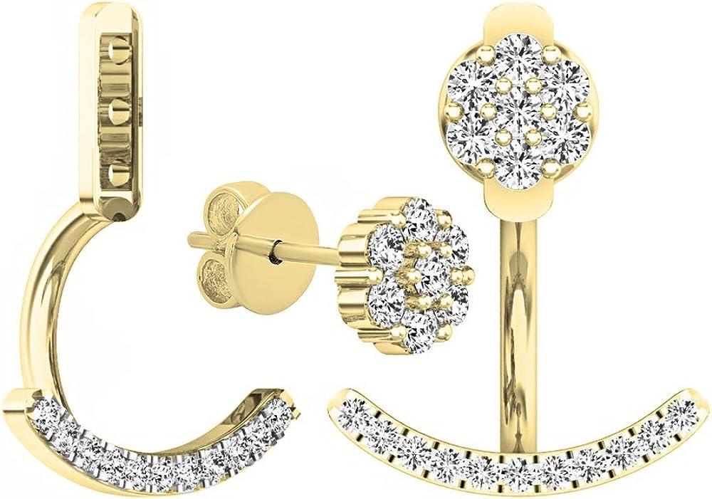 Dazzlingrock Collection 0.25 Carat (ctw) 18K Gold Round White Diamond Pendulum Stud Earring Jackets 1/4 CT