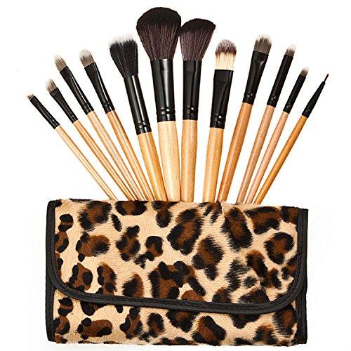 12 Pro Pinceau de maquillage fard à paupières sourcils Maquillage outil Pinceaux avec trousse à maquillage Léopard