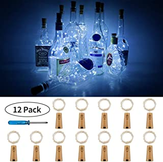PCJHSP Wine Bottle Lights with Cork 12 Pack 15 LED Starry Fairy Lights Battery Operated Mini Copper Wire String Lights for Indoor and Outdoor Party Christmas Decoration Halloween Wedding-Cool White