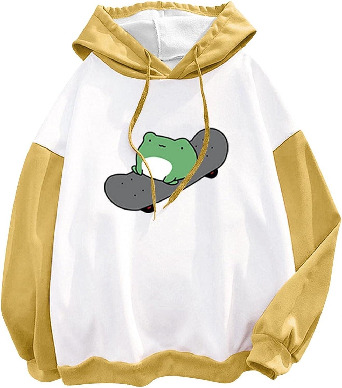 Bosanter Hoodies for Teen Girl Trendy, Cute Cartoon Frog Womens Crewneck Sweatshirts Long Sleeve Comfy Hoodie Tops