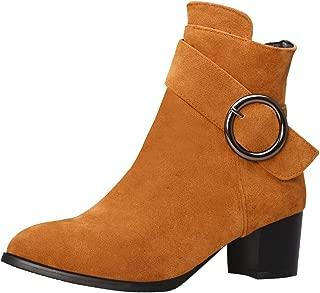 TAOFFEN Women Block Heels Ankle Boots with Zipper