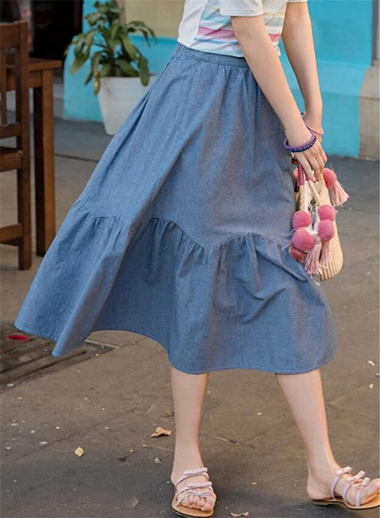 NP Summer Spring Casual Women Color A-Line Denim Skirts Sweet Women Waist Students